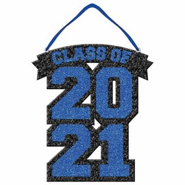 Class of 2021 Glitter Foam Sign - Blue