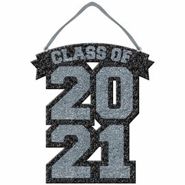 Class of 2021 Glitter Foam Sign - Silver
