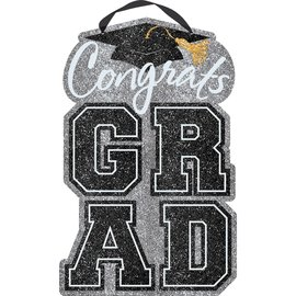 Happy Graduation Large Sign - Black, Silver, Gold