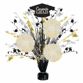Grad Tinsel Burst Centerpiece - Black, Silver, Gold