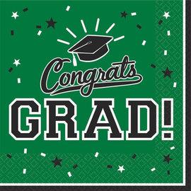 Green Congrats Grad Lunch Napkins 36ct