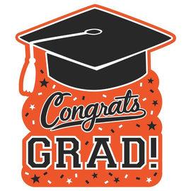 """Congrats Grad Cutout- Orange, 14"""""""