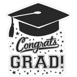 """Congrats Grad Cutout- White, 14"""""""
