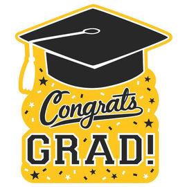 "Congrats Grad Cutout- Yellow, 14"""