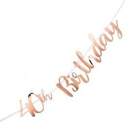 40th Birthday Rose Gold Letter Banner