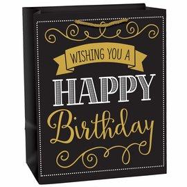Elegant Black Birthday Medium Gift Bag