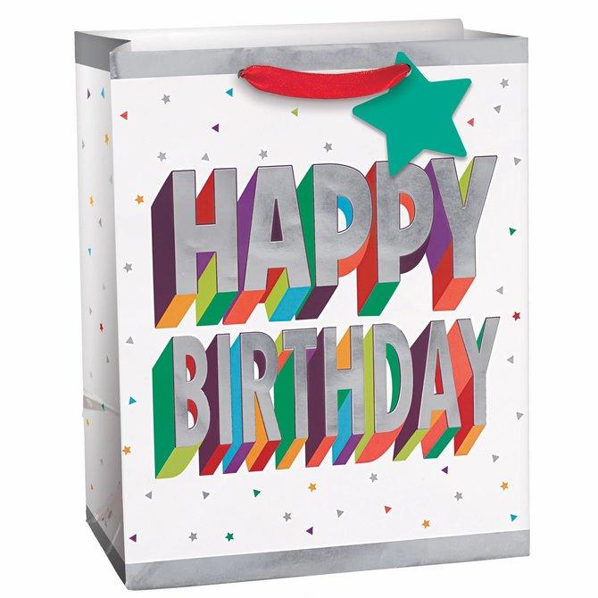 3D Birthday Medium Bag w/ Gift Tag