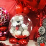 Valentines stuffed balloon with rose petals and Large Bear