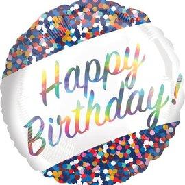 "Iridescent Birthday Confetti - 18"""