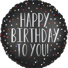 "Happy Birthday To You Satin Dots -18"""