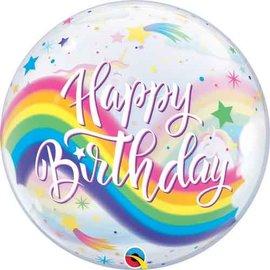 """Happy Birthday Rainbow Unicorn Bubble Balloon, 22"""""""