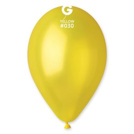 "Metallic Yellow 12"" Latex Balloons, 50ct"