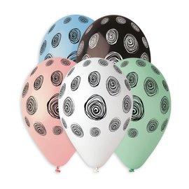 """Spiral Dots 12"""" Printed Latex Balloons, 50ct"""