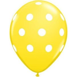 "Polka Dots Yellow-White 12"" Latex Balloons, 50ct"