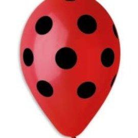 """Polka Dots Red-Black 12"""" Latex Balloons, 50ct"""
