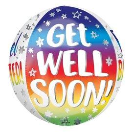 "Get Well Soon Silver Rainbow Orbz Balloon, 16"""
