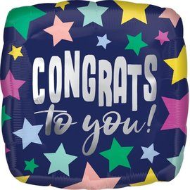 "Congrats Stars On Navy - 18"""