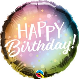 """Happy Birthday Metallic Ombre and Dots Foil Balloon, 18"""""""