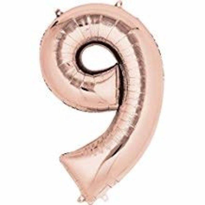 """16"""" Number 9- Rose Gold"""