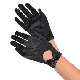 Black Satin Bow Gloves