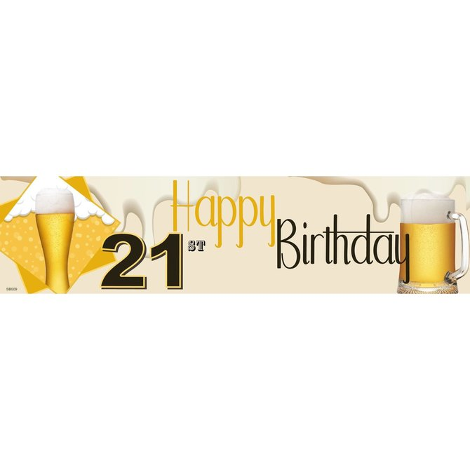 21st Birthday Beer Banner, 4 x 1