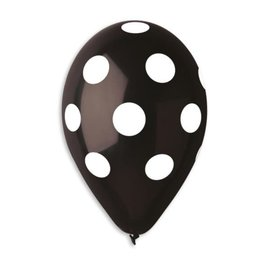 "Polka Dots Black-White 12"" Latex Balloons, 50ct"