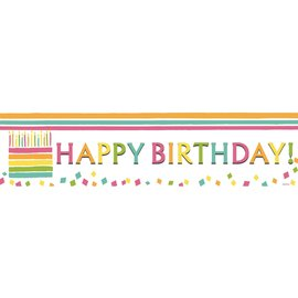 Happy Birthday Cake Banner, 4 x 1