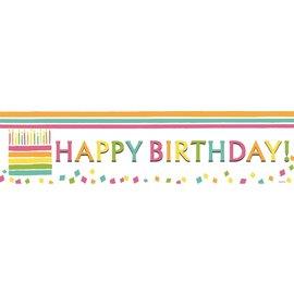 Happy Birthday Cake Banner, 4 x 1