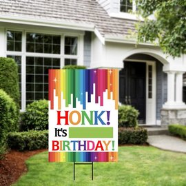 Honk It's My Birthday - Rainbow Yard Sign