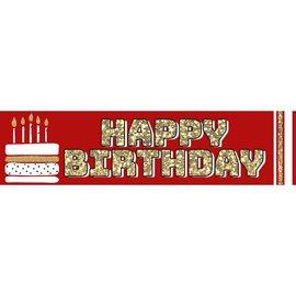 Red Birthday Banner, 4 x 1