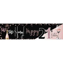 Sip Sip Hooray 21st Banner, 4 x 1