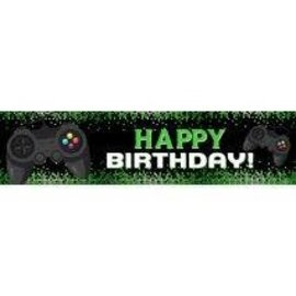 Video Gamer Birthday Banner 4 x 1