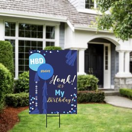 Honk It's My Bday- Blue Balloons Yard Sign