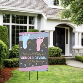 Gender Reveal Two Little Feet Yard Sign