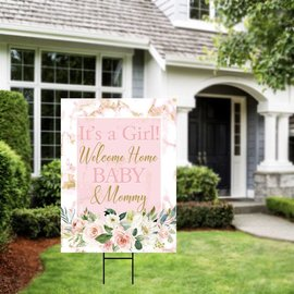 Floral It's a Girl Yard Sign