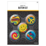 60's Hippie Buttons- 5ct
