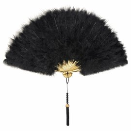 Roaring 20's Black Feathered Fan