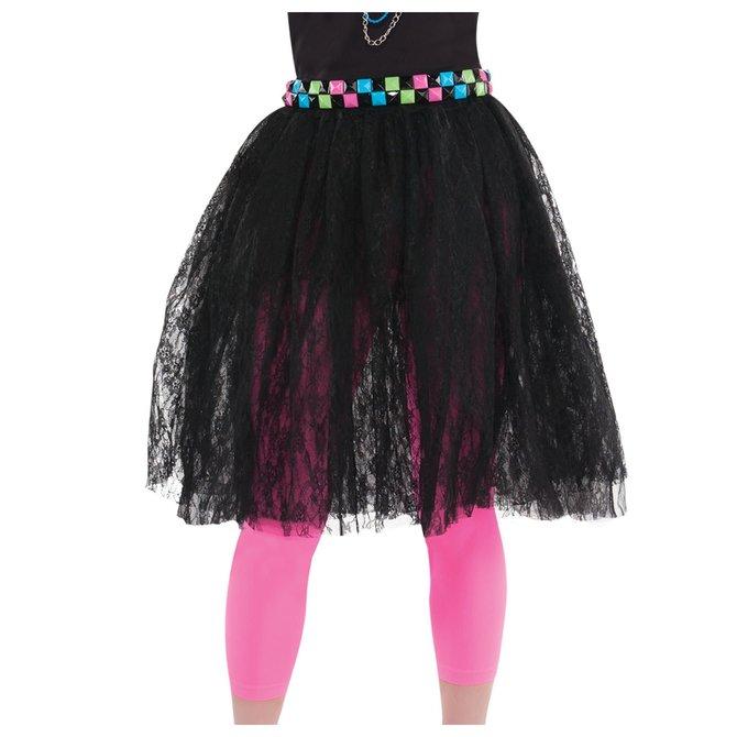 80's Black Lace Skirt- Adult Standard