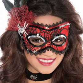 Spider Web Feather Mask