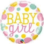 "18"" Baby Girl Dots Foil Balloon"