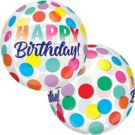 "Birthday Big Dots Clear Orbz -16"""