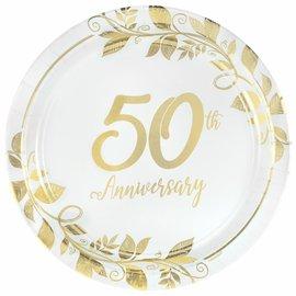 "Happy 50th Anniversary 10 1/2"" Round Metallic Plates"