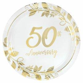 "Happy 50th Anniversary 7"" Round Metallic Plates , 8ct"