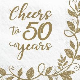 Happy 50th Anniversary Beverage Napkins , 16ct