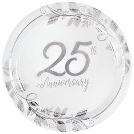 "Happy 25th Anniversary 10 1/2"" Round Metallic Plates , 8ct"