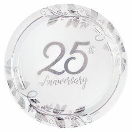 "Happy 25th Anniversary 7"" Round Metallic Plates, 8ct"