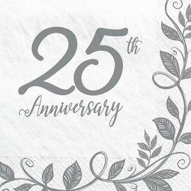 Happy 25th Anniversary Luncheon Napkins, 16ct