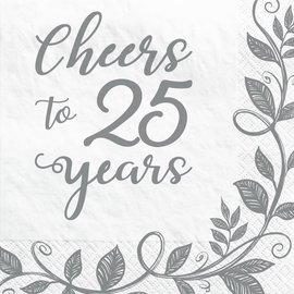 Happy 25th Anniversary Beverage Napkins, 16ct