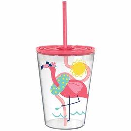 Flamingo Tumbler with Silly Straw