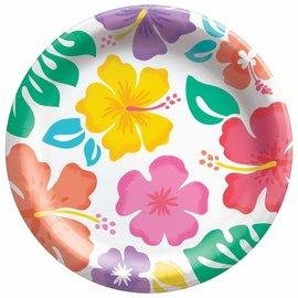 "Summer Hibiscus 6 3/4"" Round Plates, 50ct"